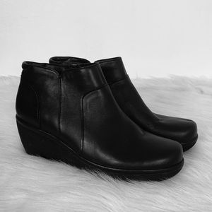 Clarks Artisan Clarene Sun Leather Wedge Booties